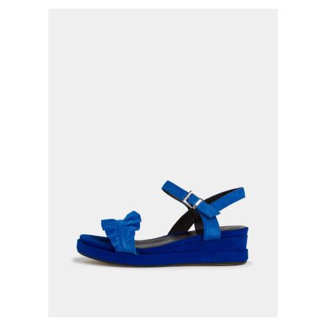 Tamaris modré semišové topánky na kline