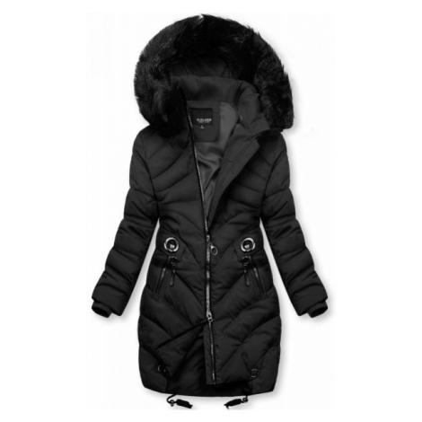 Čierna zimná bunda s umelou kožušinou
