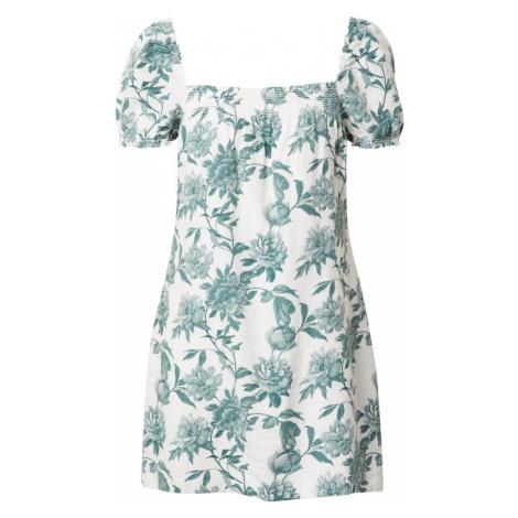 Abercrombie & Fitch Letné šaty  biela / smaragdová