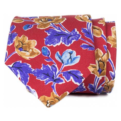 John & Paul Červená kravata s farebnými kvetmi John & Paul