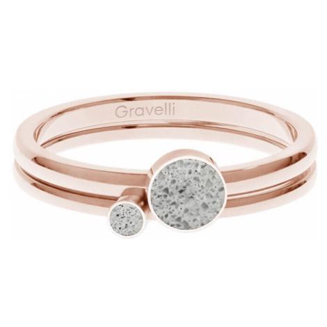 Gravelli Sada oceľových prsteňov s betónom Double Dot bronzová / sivá GJRWRGG108 mm