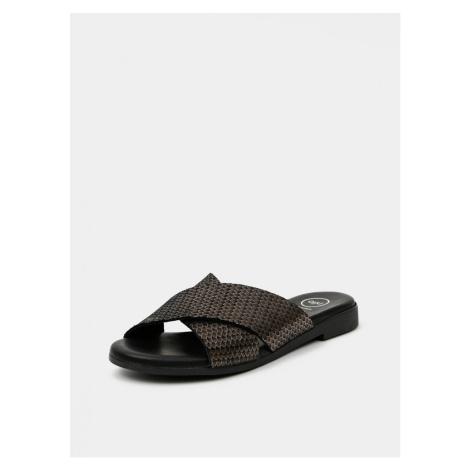 OJJU Black Leather Slippers