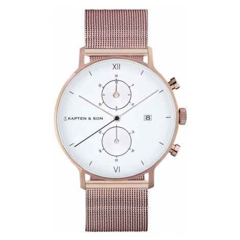 Kapten & Son Analógové hodinky 'Small Chrono Mesh'  bronzová / biela