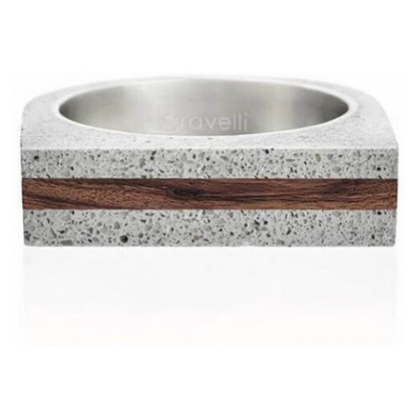 Gravelli Betónový prsteň šedý Stamp Wood GJRUWOG004 mm