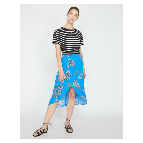 Koton Women's Blue Normal Waist Patterned Midi Skirt