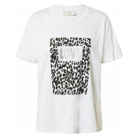 Kaffe Tričko 'Leo'  biela / čierna / strieborná