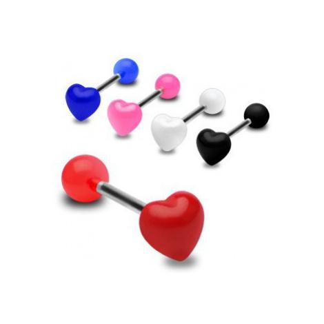 Farebný piercing do jazyka, lesklé súmerné srdce - Farba piercing: Ružová