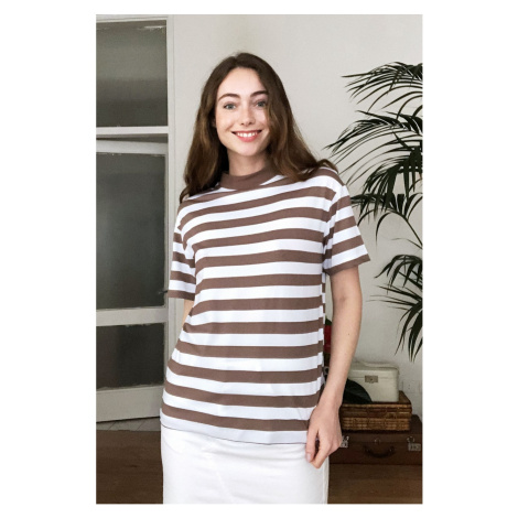 Trendyol Brown Steep Collar Striped Basic Knitted T-Shirt