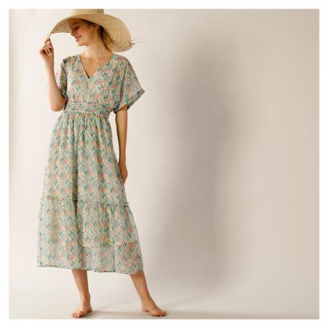 Blancheporte Dlhé šaty s potlačou kvetín ražná/modrá