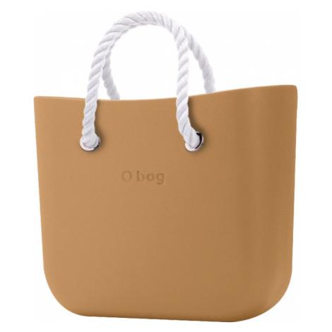O bag kabelka MINI Biscotto s bielymi krátkymi povrazmi