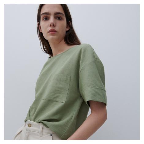 Reserved - Hladká ľanová blúzka - Zelená