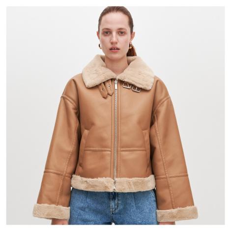 Reserved - Letecká bunda z umelej kože - Béžová