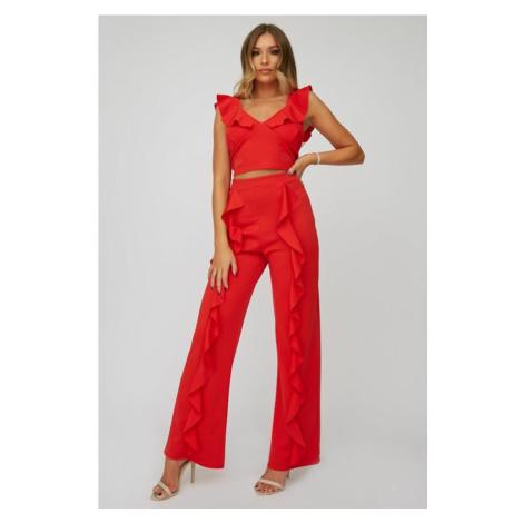 Recyklované červené rozšírené nohavice Little Mistress