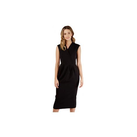 Closet London Dámske šaty Closet Princess Seam Wrap Dress Black