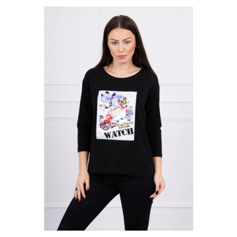 Blouse with graphics 3D Watch black