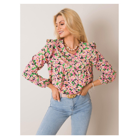 RUE PARIS Pink floral blouse