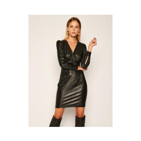 Pinko Kožené šaty Enrico Al 20-21 BLK01 1G150D Y6BF Čierna Slim Fit