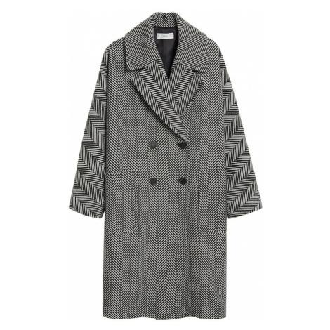 MANGO Zimný kabát  čierna / biela