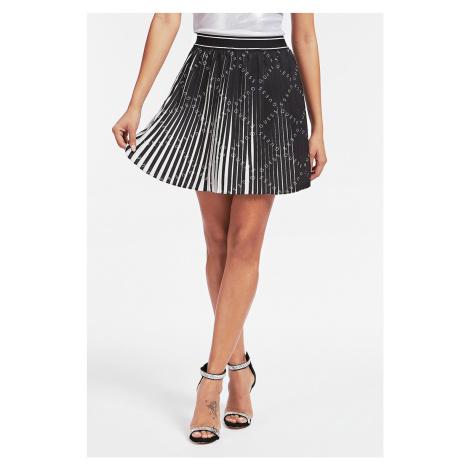 Guess čierno-biela sukňa Gonna Plissettata