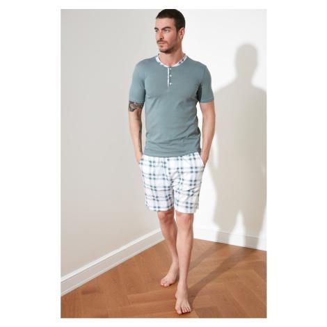 Trendyol Green Plaid Knitted Pyjama Set