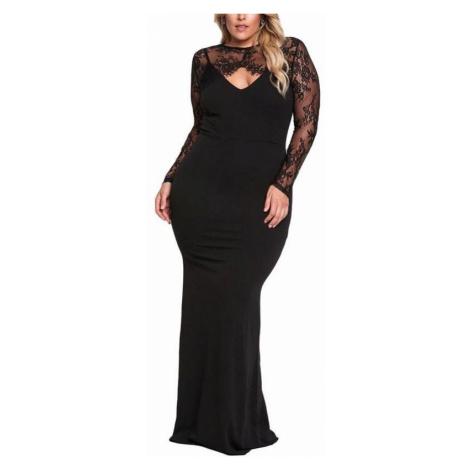 Dlhé plus size šaty Nadia - čierne