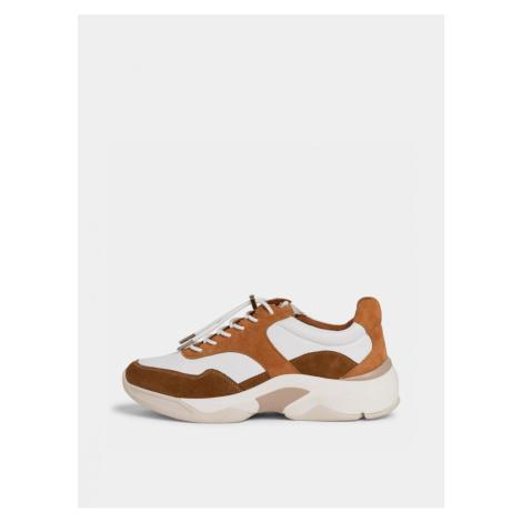 Béžovo-hnedé kožené tenisky na platforme Tamaris