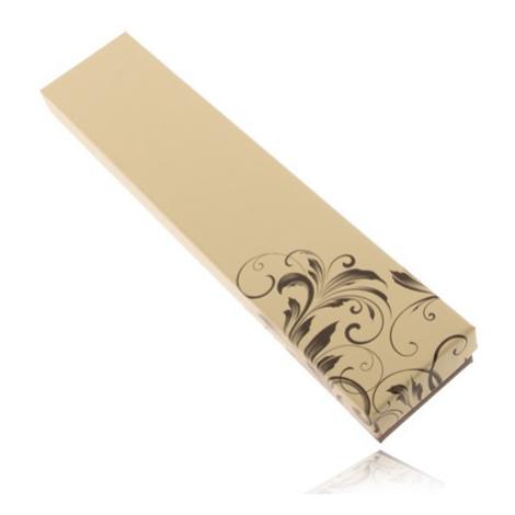 Krabička na retiazku hnedej a maslovožltej farby, zatočené listy