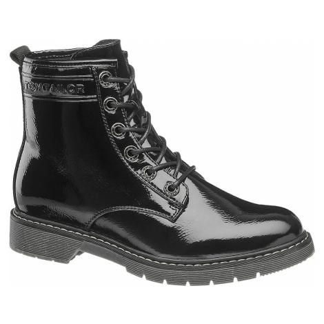 Tom Tailor - Čierna lakovaná šnurovacia obuv so zipsom Tom Tailor