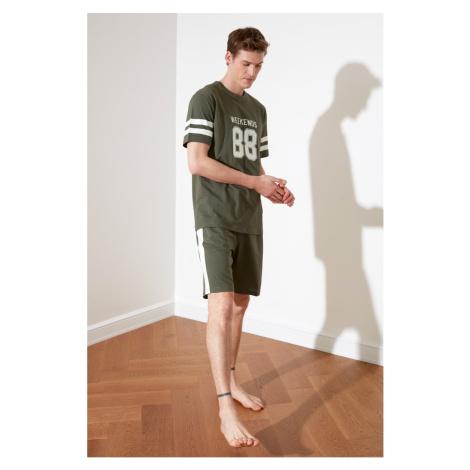 Trendyol Haki Print knitted pyjama set