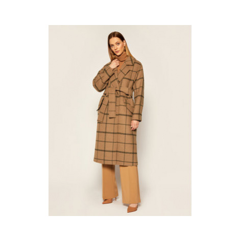 TWINSET Vlnený kabát Cappotto 202TP224B Hnedá Regular Fit