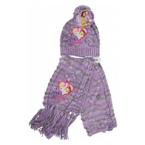 Disney princess fialový pletený set čiapka + šál