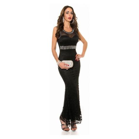 Dlhé čierne trendy šaty s čipkou Amelina