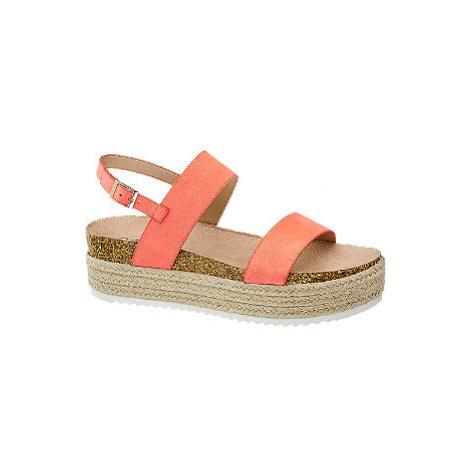 Neónovoružové sandále na platforme Catwalk