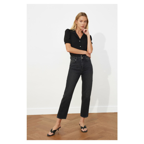 Trendyol Black High Waist Narrow Straight Jeans