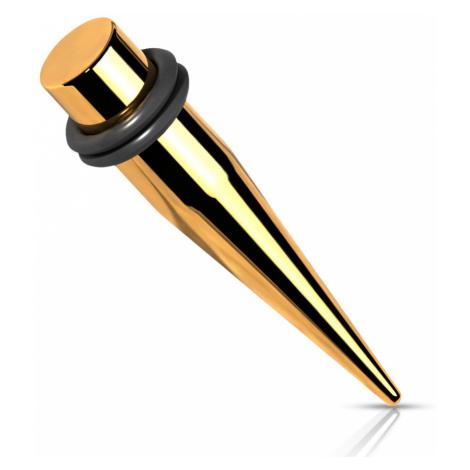 Oceľový 316L expander do ucha - zlatá farba, dve gumičky, PVD úprava - Hrúbka: 8 mm
