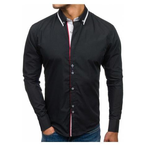 Čierna pánska elegantná košeľa s dlhými rukávmi BOLF 6857