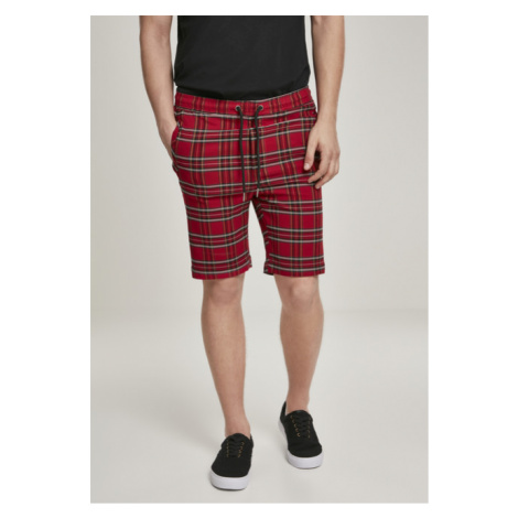 Urban Classics Checker Shorts red/blk - Veľkosť:XL