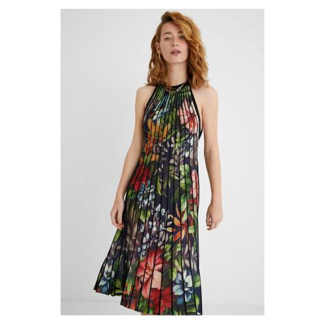 Desigual farebné plisované šaty Vest Brasil