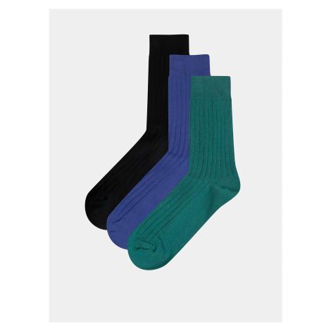 Sada troch párov ponožiek v modrej, zelenej a čiernej farbe Jack & Jones Gam