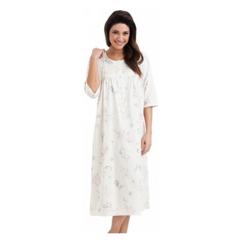 Dlhá bavlnená nočná košeľa s gombíkmi Lea ecru Dorota