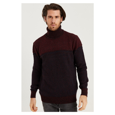 V0050 DEWBERRY FISH COLLAR MEN'S SWEATER-BURGUNDY