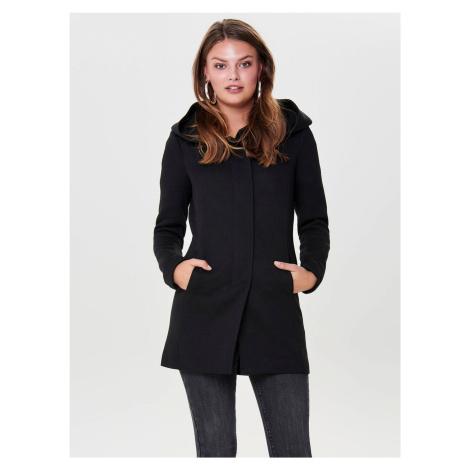 Čierny kabát s kapucňou ONLY Sedona