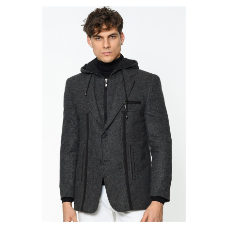 K7534 DEWBERRY MALE COAT-PATTERNED ANTHRACITE