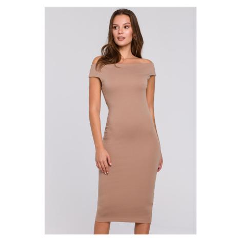 Béžové šaty K001