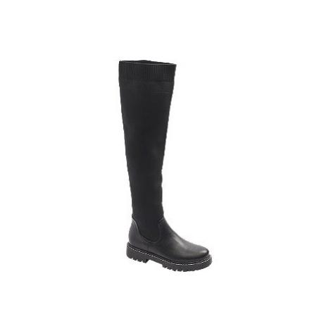 Čierne čižmy nad kolená Catwalk