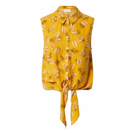 VILA Blúzka  zlatá žltá / biela / oranžová / tmavozelená