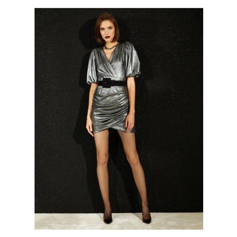 Koton Metallic Dress Evening Dress Short Sleeve Gathered