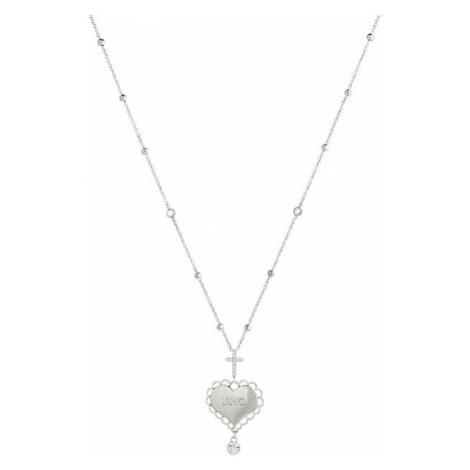 Liu.Jo Oceľový náhrdelník so srdiečkom a krížikom LJ1447