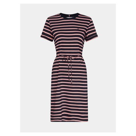 Ružovo-modré pruhované basic šaty Tommy Hilfiger