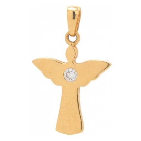 Zlatý prívesok ANJEL s kamienkom